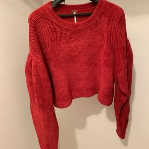Free People Cropped Pullover Sweater Red Small